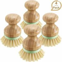 Dish Scrubber Brushes Set of 4 Eco Friendly 100% Natural Bamboo Coconut Fiber