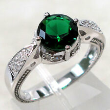 ELEGANT 2 CT EMERALD 925 STERLING SILVER RING SIZE 10