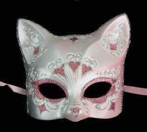 Masque de Venise Chat rose argenté florale Artisanat Luxe Peint à la main 2008