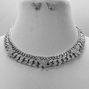 Silver Tone  Clear Rhinestones Butterfly  Cuban Link  Chain 2 Necklaces set