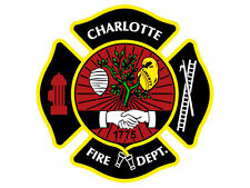 4x4 inch Maltese Cross Shaped CHARLOTTE FIRE DEPT Sticker - firefighter nc logo