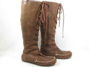 Frye Alex Lace Up Moccasin Knee High Women size 6 Brown Leather