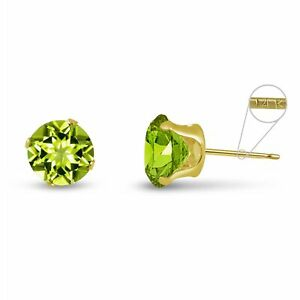 Solid 14K Yellow Gold Round Genuine Peridot August Stud Earrings Size 2mm-8mm
