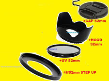 LENS HOOD + UV FILTER + CAP 52mm + 46mm/52mm FOR FUJI S700 S800 S5700 S5800 5900