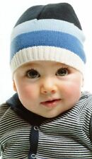BONNET FOR BABY BOY Blue Stripe Beanie - Fine Knit Hat FREE POSTAGE