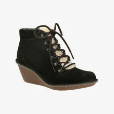 NEW Clarks Womens Leather Wedges Ankle boots Hiking MARSDEN GRACE Black RRP £70