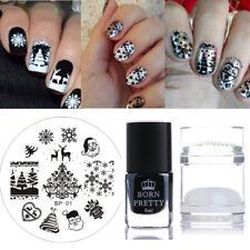 4pcs/set Nail Art Snowflake Deer Image Stamping Plates Polish Dual-Head Stamper