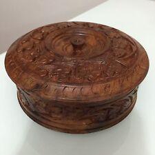 Antico in legno tonda portagioie intagliati a mano