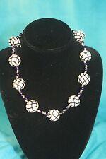 "NEW - KAZURI 18"" DORIA Beaded Necklace Black n White sku #1630"