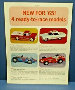 ELDON Early1965 single sided  slot car line up dealer sales flyer