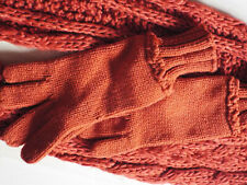 F&F Warm Soft Long Cable Knit Orange Scarf and Gloves Set