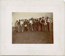 YOUNG MEN BOYS IN UNIFORM HOLDING BASEBALL PITCHER GLOVES  ANTIQUE OUTDOOR PHOTO