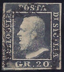 SICILIA 1859 - 20 grana n. 13 USATO LUSSO Certificato FERRARIO € 1.400