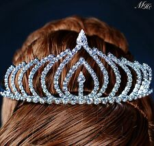 Flame Style Tiaras Hair Combs Clear Rhinestones Wedding Prom Party Crown Jewelry