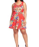 Collective Concepts Sleeveless Red Floral Print Fit And Flare Dress Size 1X