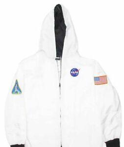 NASA Puffer Union Suit - White MEDIUN  Unisex Flag Patches Pajamas Costume
