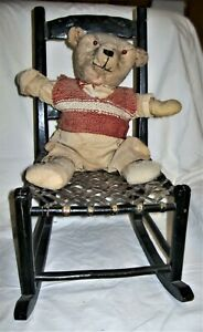 Antique Ladder Back Cane Woven Seat Doll Rocking Chair W/Straw Stuffed Bear