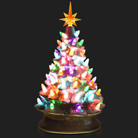 "15"" Pre-lit Hand-Painted Ceramic Tabletop Christmas Tree Battery Powered Decor"