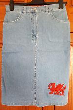 Size 12 Welsh dragon Clone jeans short light blue denim skirt