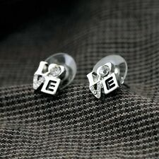 Lady Costume Jewelry Delicate Crystal Small Love Studs Silver Love Stud Earrings