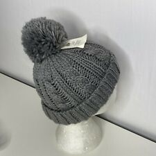 NWT 2-4 Yr Tucker + Tate Beanie Pompom Cable Knit Cuffed Girls Lined Gray