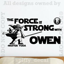 Star Wars Yoda The Force Is Strong PERSONALIZED NAME Vinyl Wall Decal Sticker