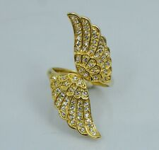 Vintage Sterling Silver Feather Wing White CZ Bypass Ring Gold Vermeil Sz 10