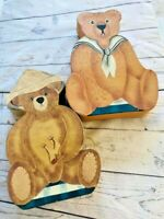 Set of 2 Vtg. Hand Painted Teddy Bears pasteboard Trinket / Storage Box
