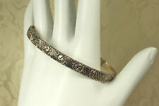 """Early 1950s """"BEAU STERLING"""" BANGLE Bracelet~Continuous ENGRAVED ROSEBUDS~EX!!!"""