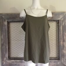 Lane Bryant Womens Tank Top 18 20 Olive Green Sleeveless Shirt Camisole