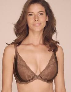 MARKS + SPENCER BROWN ROSIE AUTOGRAPH padded lace wired PLUNGE bra BNWT 32F 32 F