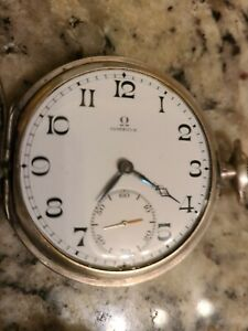 STERLING OMEGA FULL 925 SILVER, LUXURIOUS RELIC Pocket Watch beautifully Carved!