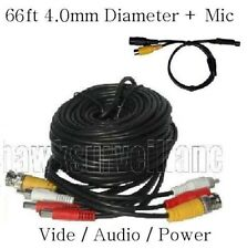 66ft Video, Power, Audio cable 4mm Od+Hi-sensitivity mic for Cctv Surveillance