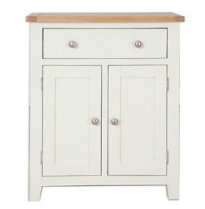 Hobart Ivory/Natural Oak Top 2 Door 1 Drawer Compact Sideboard Fully Assembled