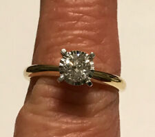 10KT Yellow Gold .40 Carat Diamond Illusion Set Solitaire Signed SK9 Ring Size 7