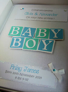 Luxury Personalised New Baby Boy Card, Swarovski crystals, boxed