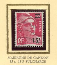 STAMP / TIMBRE FRANCE OBLITERE N° 968 TYPE GANDON SURCHARGE
