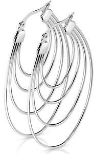 *NEW & SEALED -High Quality Silver Multi  Large Hoop Pair Of Earrings