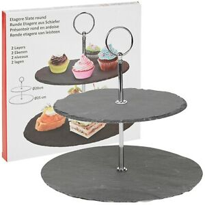 2 Tier Layer Slate Cake Food Stand Round Display Serving Wedding Centre Piece