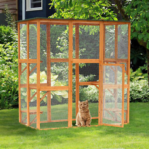 PawHut Wooden Pet House Small Animal Shelter Cage Outdoor 6 Platforms