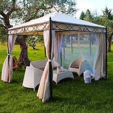 Gazebo giardino quadrato 3 x 3 m struttura in ferro antivento tende e zanzariere