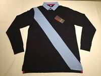 New Men's Front Row Diagonal Stripe Rugby Shirt. Navy/Sky. XL . R67