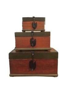 Vintage Wood Boxes - Set of 3 Hand Painted Nesting Boxes Working Locks w Keys