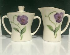 "Vintage ~ Small Cream and Sugar ~ Iris Flowers ~ Enesco ~ Japan ~ 2 1/2"" Tall"