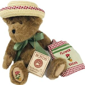 Boyds Mary Alice Weedsalot Jointed Bear Garden Flower Seeds Hat 1988 to 2003
