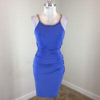 Laundry Shelli Segal Xs 2 Blue Bodycon Formal Dress Ruched Rhinestone Stretch