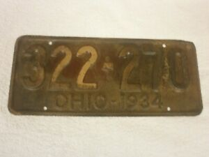 AMERICAN OHIO VINTAGE 1934 # 322-270 RARE RUSTIC NUMBER PLATE