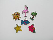36 SUMMER BEACH CHARMS sun palm tree pink flamingo hibiscus flower LUAU JEWELRY