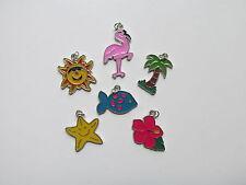 36 Enamel HAWAIIAN LUAU Summer Beach CHARMS palm tree pink flamingo + FREE S/H