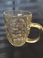 "Clear Glass Rootbeer Beer Mug Thumbprint Dimpled Glass 5"" tall 24 oz Euc"
